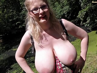 Casey deluxe Pissing in the Park big tits blonde fetish