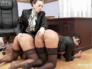 Busty office ladies decided to have a wild threesome with their boss, who is a lesbian anal bdsm big tits