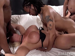 Alura Jenson in My First Interracial Gang Bang! - AluraJensonXXX big cock big tits blonde