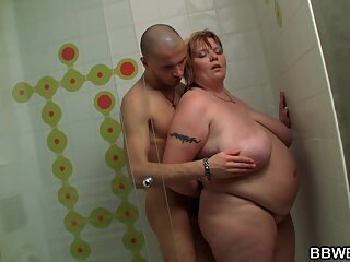 Washing The Fattie Who Washed His Car bbw big tits brunette
