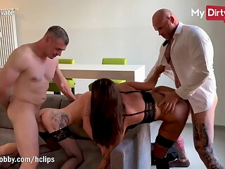 MyDirtyHobby - Wives caught kissing each other and swapped by husbands amateur big cock big tits