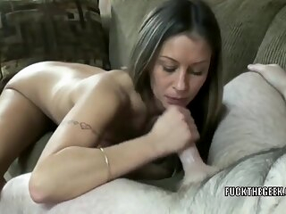 Mature swinger Leeanna Heart is stroking and sucking a lucky geeks stiff cock amateur big tits blowjob