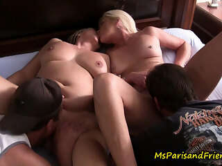 Two HOT MILFs Licking Pussy Start a Swingers Orgy big tits blonde blowjob