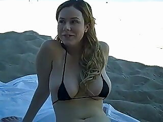 Shy and nervous gf with big tits in a tiny bikini flashes in public amateur funny public nudity