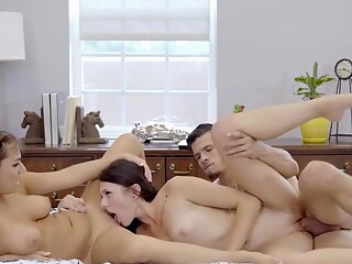 Mom Fucks Step Son & GF to keep Secret big cock big tits brunette