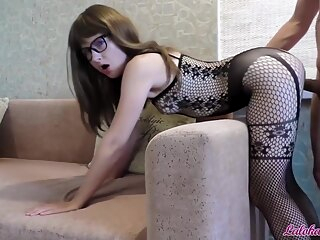 Babe in Glasses Blowjob Big Cock and Rough Doggy Fuck - Cum on Face amateur big ass big cock