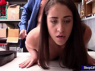 Suspected skinny thief pursuaded to strip and fuck officer amateur brunette handjob